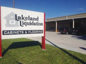 Lakeland Liquidation Sign in front of building